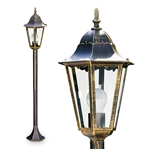Außenleuchte Hongkong, Stehlampe in antikem Look, Aluguß in Braun/Gold mit Milchglas-Scheiben, Wegeleuchte 120 cm, Retro/Vintage Gartenlampe, E27-Fassung, max. 100 Watt, IP44