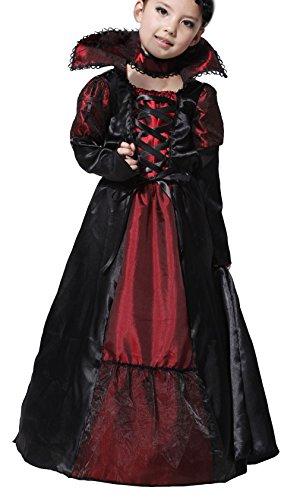 Binse Disfraz de Vampiro para niñas, Fiesta de Halloween, Disfraces de Princesa, Negro, 4-6 Años