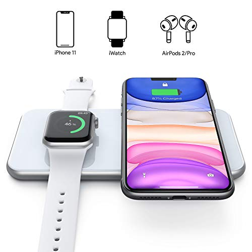 Hinyx 3 in 1 Kabellose Ladestation, Qi Fast Wireless Charger,für iWatch 5/4/3, Airpods 2/Pro, iPhone SE/11/11 Pro/XR/XS Max/XS/X/8P/8, Samsung Galaxy S20/S10/ Note 10, Alle Qi-fähigen Geräte