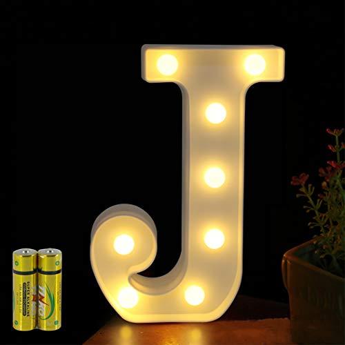 HONPHIER® Buchstaben Lichter Alphabet Lampe LED Brief Beleuchtung Buchstabe Licht Beleuchtete Buchstaben Nachtlichter Dekoration für Geburtstag Party Hochzeit Kinderzimmer (J)
