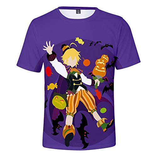FJLR Korte Mouw 3D Print De Zeven Dodelijke Zonden Meliodas Patroon T-Shirt Casual Top Anime Losse Streetwear Geschikte Tieners En Volwassenen
