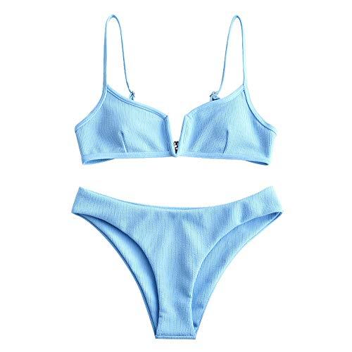ZAFUL Damen Bikini Set Zweiteilige Badeanzug High Cut Bralette Sexy Swimsuit Sommer (Blau, M)