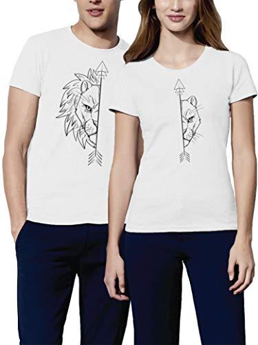 VIVAMAKE Camisetas para Parejas Mujer y Hombre Originales Divertidas con Diseño Lions Couple T Shirt Ideas de Regalo