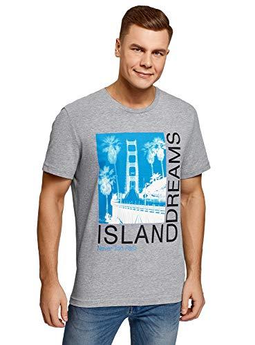 oodji Ultra Hombre Camiseta de Algodón con Estampado, Gris, M