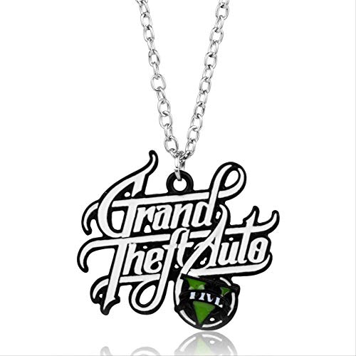 Naswi Hot Ps4 GTA 5 Game Necklace Grand Theft Auto V Pendant Necklace for Men Boys Fans Link Chain Jewelry