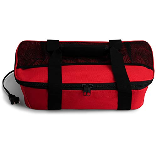 HOTLOGIC Food Warming Tote, Casserole Carrier 120V, Red