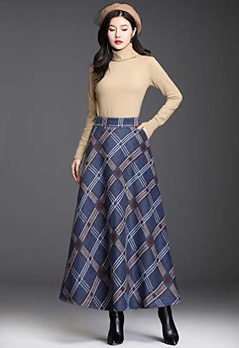 Byqny Mujer Cuadros Faldas,Invierno Elegantes Falda Tartan A-Line Falda, Talla Grande Largas Estampadas Larga Rayas Altas de Cintura Asimetrica Cuadros