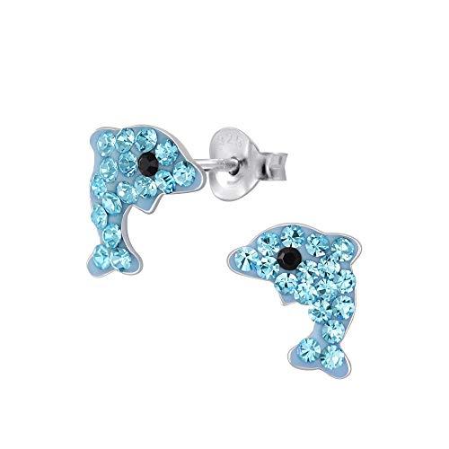 Laimons - Orecchini per bambine e ragazze, a forma di delfino, in argento Sterling 925, con glitter azzurro