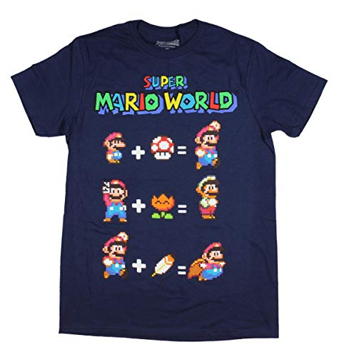 Nintendo Men's Super Mario World T-Shirt Equation Video Game Fan X-Large Blue