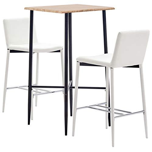 Tidyard 3-TLG. Bartisch Set, Bistrotisch Stehtisch Esstisch Essgruppe, Metallbeine, Eichefarben & Weiß