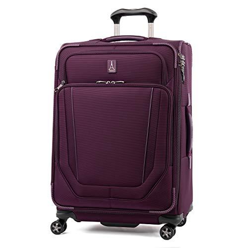 Travelpro Crew Versapack-Softside Expandable Spinner Wheel Luggage, perfect Plum, Checked-Medium 25-Inch