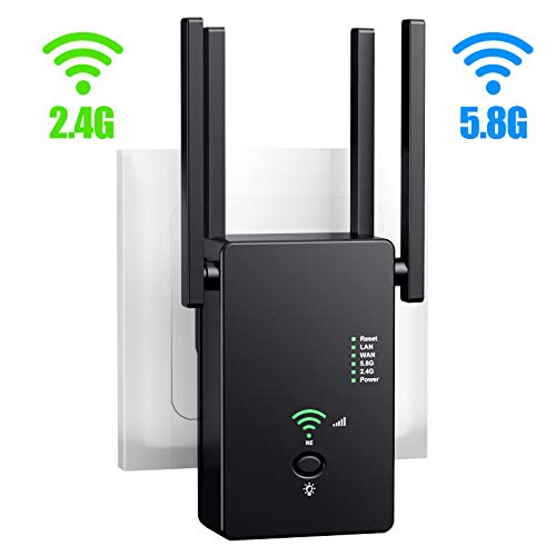 URANT WiFi Extender | Up to 1200Mbps |Repeater, WiFi Signal Booster, Access Point | Easy Set-Up | with WPS Internet Signal Booster | Extends WiFi Coverage to Smart Home Devices