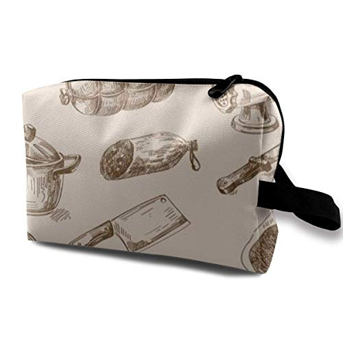 Bolsa de maquillaje para cosméticos, dibujada a mano, para cocina, garabatos de grafiti, multifunción, bolsa de viaje, bolsa de almacenamiento