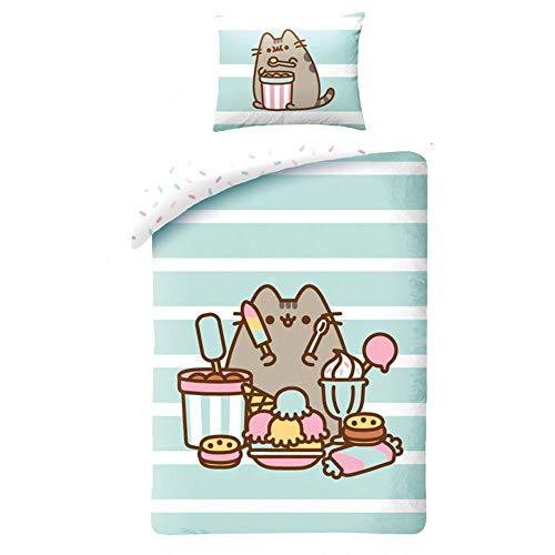 Halantex - Baumwollbett Set Pusheen Katze mit EIS und Desserts Bettbezug und Kissenbezug - Mehrfarbig - 100% Baumwolle - 140x200cm