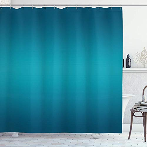 Viowr22iso Fabric Shower Curtain Liner with Hooks Ombre Deep Blue Tropical Ocean Exotic Lands Inspired Design Modern Digital Print Petrol Blue Waterproof Curtains Set for Bathroom Decor 72 X 80''