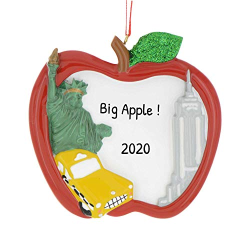 Personalized Big Apple NYC Christmas Tree Ornament 2020 - Red New York City Taxi Statue Liberty Empire State Broadway Wall Street Holiday Travel Tourist Gift Souvenir Love Year - Free Customization