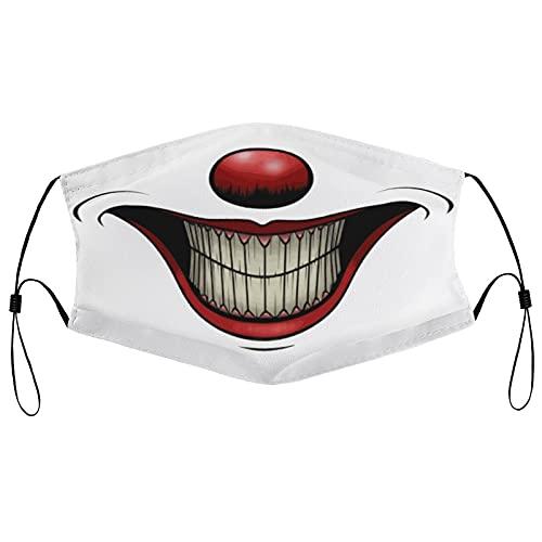 Halloween Smiling Clown Face Ma-sk Balaclava Unisex Reusable Bandanas Outdoor Running for Teen Men Women with 2 fliters 1 PCS