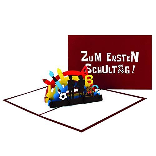 """3D Karte """"Zum Ersten Schultag!"""" - Pop Up Karte zur Einschulung als Einladung, Geldgeschenk, Gutschein, Einladungskarten & Geschenk für die Schultüte – bunte Pop Up Karte für Jungen & Mädchen"""