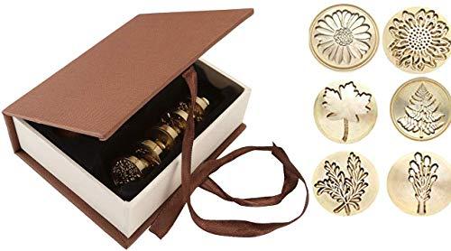 Tiamu Juego de sellos de cera, 6 unidades Cuño de lacre con mango de madera para sobre, tarjeta postal, etiqueta de invitación de boda