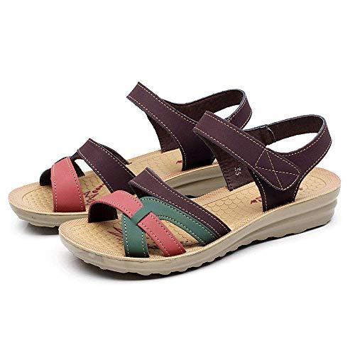 IOAOAI Sandalias de Verano Mujer Señoras de Cuero Calzado de Talla Grande...