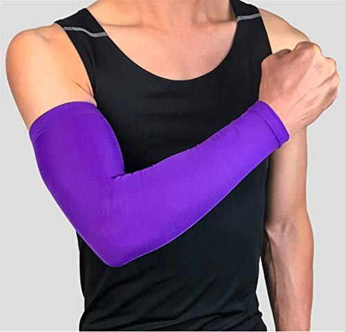 ZBYD 1 funda transpirable de secado rápido, protección UV, para correr, baloncesto, codo, fitness, brazaletes, deportes, ciclismo, calentadores de brazos 330 (color morado, tamaño: mediano)