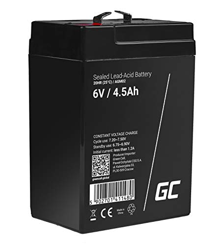 Green Cell® AGM 6V 4,5Ah Akku VRLA Blei-Batterie Bleiakku Ersatzakku Gelakku Akkubatterie Zyklenfest Unbemannt Spielzeug | Elektro Spielzeug| Alarm | Notstrom | Kinderfahrzeuge| Kinder-Quad