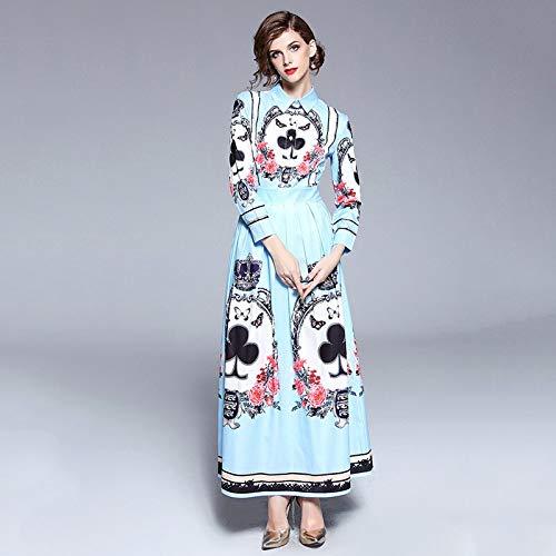 QUNLIANYI Plus Size Feestjurken Full Sleeve Turn-Down Collar Boho Blauw Lange Shirt Jurk Speelkaart Print Ontwerper Vrouwen Maxi Jurk