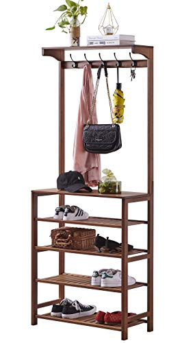 SEIRIONE Bamboo 4 Tier Shoe Rack Coat Rack Hall tree 5 Double Hooks 2 Storage Shelves Perfect for your Entryway and BedroomEasy Assembly