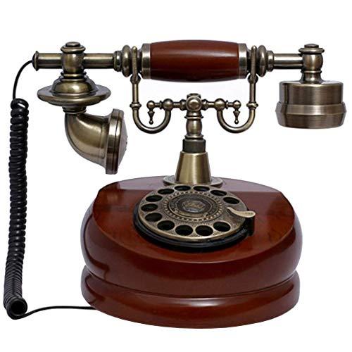 ZHOUYANG Teléfono de la Vendimia/Teléfono Retro con Madera y Cuerpo de Metal, Rueda giratoria Funcional y clásico de Bell del Metal
