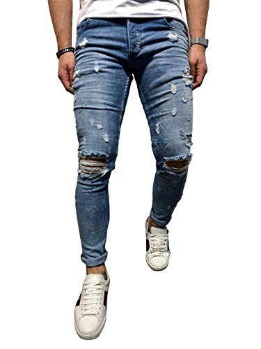 BMEIG Herren Skinny Jeans Destroyed Ripped Zerrissene Slim Fit Stretch Distressed Denim Basic Männer Jeanshose Designer 32 EU/M Blau