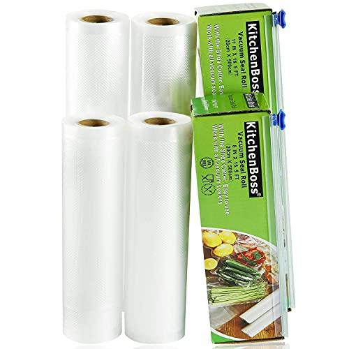 KitchenBoss Bolsas de Vacío Profesional 4 Rolls 20x500 y 28x500cm con 2 Caja de Corte (No...