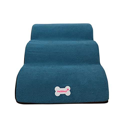 DDK Haustiertreppe Hundetreppe, Treppen für Hohe Betten, Hunderampe Atmungsaktives rutschfest Schlafsofa Leiter Weiche für Katzen Hunde Blau L (3 Treppen)
