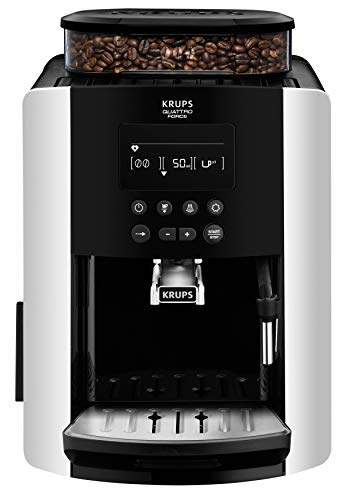 Krups EA8178 Arabica Display Quattro Force Volautomatische espressomachine, 1450 watt, capaciteit waterreservoir: 1,8 l, pompdruk: 15 bar, LCD-display) zwart/carbon-look