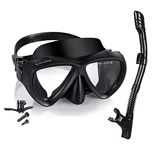 OMGear Snorkel Set Snorkeling Gear Package Diving Set Premium Silicone Dive Goggles Snorkel Equipment Goggles AntiFog AntiLeak Neoprene Strap Scuba Diving Freediving Swimming BlackCamera