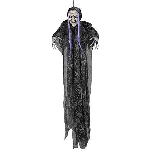 Fliegende Hexe mit Besen Halloween Deko Figur 100 cm Hexen Dekoration Dekohexe