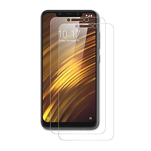AICEK [2-Pack Protector de Pantalla Xiaomi Pocophone F1, Cristal Templado para Xiaomi F1 Vidrio Templado Xiaomi Pocophone F1 Cristal Screen Protector