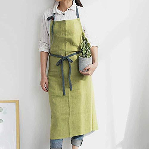 wangtao Lange Groen Blauwe Katoenen Schort Huis Keuken Koken Bakken Schilderen Werkkleding Cafe Barista Restaurant Serveerster Bloemist Uniform Lichtgroen