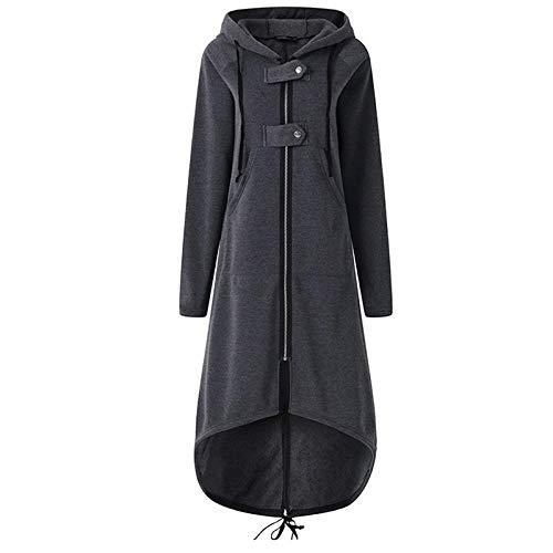 Silla de baño casual de manga larga con capucha gabardina otoño negro cremallera más tamaño abrigo largo mujer abrigo ropa CHFYG (color: B, tamaño: XXL)