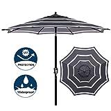 Blissun 9' Outdoor Aluminum Patio Umbrella, Striped Patio Umbrella, Market Striped Umbrella with Push Button Tilt and Crank (White and Black)