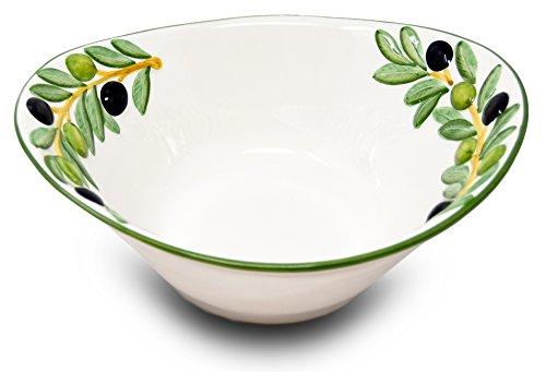Lashuma Handgemachte Italienische Keramikschale im Olivendesign, Ovale Salatschüssel Keramik 25 x 21 x 8,5 cm