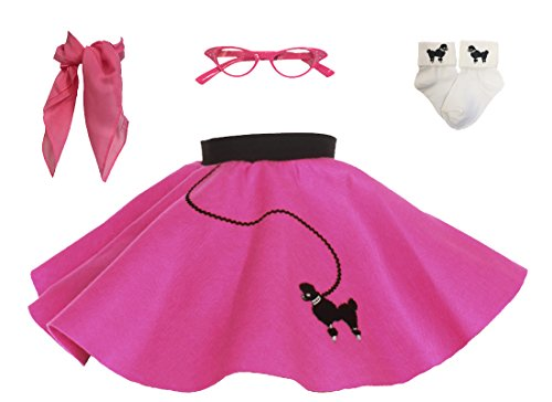 1950s Poodle Skirt with Scarf, Bobby Socks, and Glasses, 4 Piece Halloween or Pretend Play Costume Set for Toddlers Hot Pink