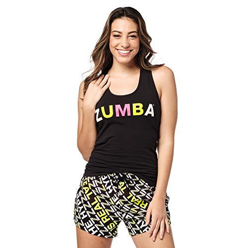 Zumba Atlético Estampado Fitness Camiseta Negra Mujer Racerback de Entrenamiento Top Deportivo Tank Tops, Black to Basic, Large Womens