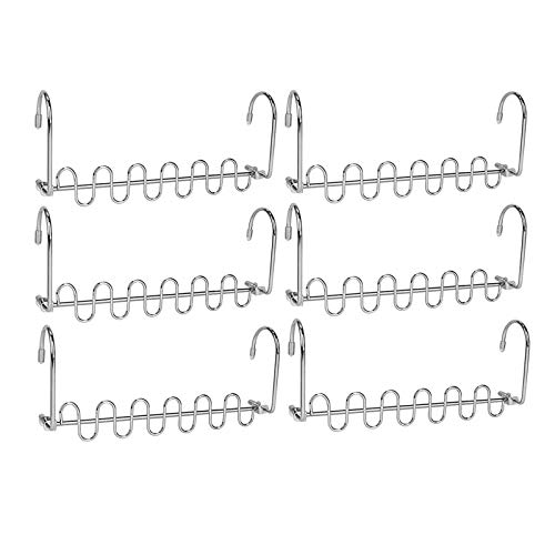 Crozzy 6PCS Clothes Hangers Space Saving Hangers For Wardrobes Metal Hangers Organizer Smart Closet System Magic Hanger Seal Cascading Silver For Trouser, Dress, Clothes