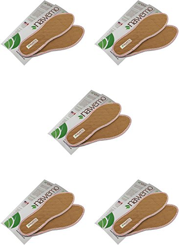 Nawemo Zimtsohlen, geruchsbindende Zimteinlegesohlen gegen Schweißfüße, Fußgeruch, Fußpilz und Nagelpilz, schmale Passform, dünne Einlegesohlen braun (5er Pack/5 Paar), Größe 42 EU