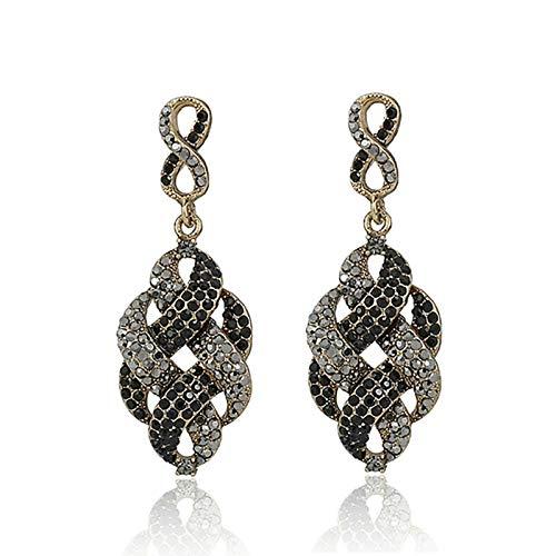 NOBRAND Pendientes para mujer llenos de diamantes de imitación de aleación vintage para mujer, negro