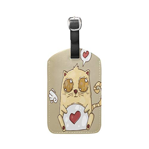 Cute Heart Cat Kitty Luggage Baggage Suitcase Tags Leather ID Label for Travel(2pcs)