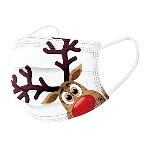 10 stück mundschutz Weihnachten,mundschutz einweg,Einweg Mund und nasenschutz, mundschutz Erwachsene,mundschutz kaufen,Atmungsaktive und komfortable elastische Ohrmuscheln Gesichtsschutz (E)