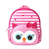 Toddler Backpack, Waterproof Children School Backpack, Neoprene Animal Schoolbag, Lunch Box Carry Bag for Boys Girls, Owl