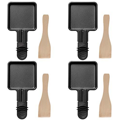 COSYLAND Raclette Pfännchen Ersatz 4 Stücke mit Antihaftschicht für Universal Elektrogrill/ Raclette Zubehör mit 4 Raclette-Holzschaber, 18 x 8 x 1,5cm