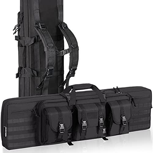 HUNTSEN Tactical Double Long Rifle Pistol Gun Bag Firearm Transportation Case Double Rifle Bag Outdoor Tactical Carbine Cases Water Dust Resistant Long Gun Case Bag